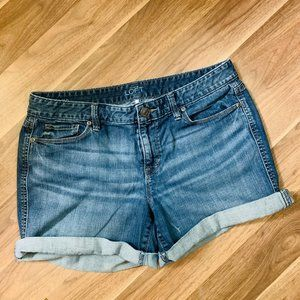 LOFT Boyfriend Denim Jean Shorts 30 10 Dark Wash
